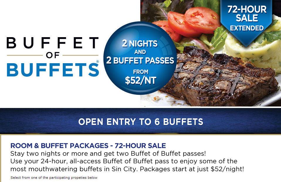 Buffet of Buffets 2 FREE Buffet Passes with 2 Night Hotel Purchase