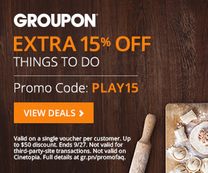 Groupon Extra 15 Off Events and Activities Deal Promo Code (Sept 26-27)