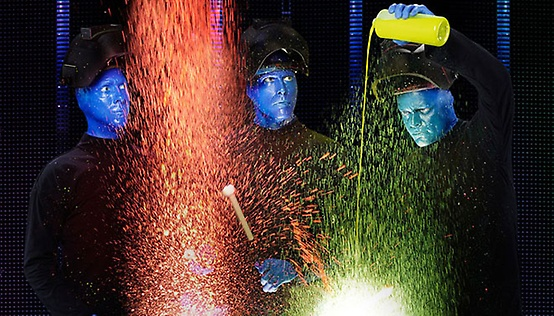 Highlights for Blue Man Group. When you want to enjoy an amazing show, you could go with the standard. You could see a play about a sad family or a budding musician. Or you could change the way you look at performance art and see the Blue Man Group.